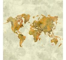 World Map Yellow Vintage Photographic Print