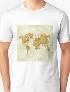 World Map Yellow Vintage T-Shirt