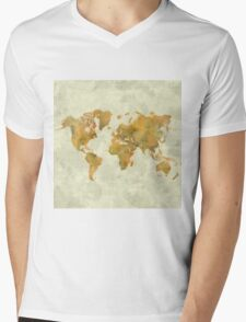 World Map Yellow Vintage Mens V-Neck T-Shirt