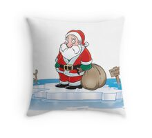 Global Warming Santa Throw Pillow