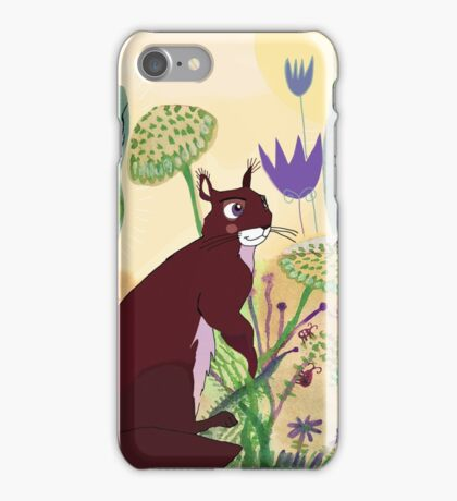 squirrel and plants iPhone Case/Skin