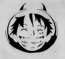 Luffy smiling stencil by NikOrfeas