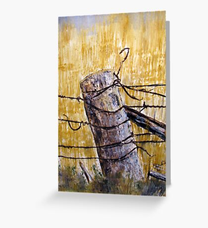 A lonely fence in Australia Greeting Card