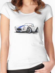 AC / Shelby Cobra White (Blue Stripes) Women's Fitted Scoop T-Shirt