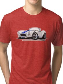 AC / Shelby Cobra White (Blue Stripes) Tri-blend T-Shirt