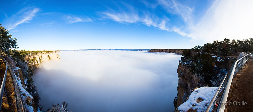 Rare Grand Canyon covered with fog, panoramic by Jerome Obille
