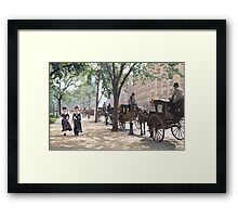 Cab Stand at Madison Square Garden, 1900 Framed Print