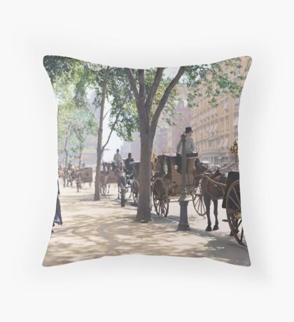 Cab Stand at Madison Square Garden, 1900 Throw Pillow
