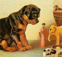 Cute Victorian puppy, wooden toys Sticker