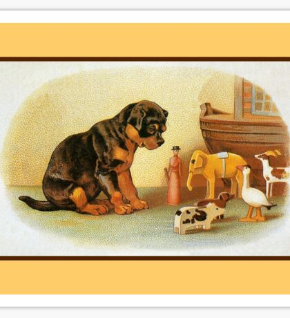 Cute Victorian puppy, wooden toys Sticker