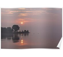 Rose Quartz Sunrise with Swans Poster