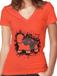 Torkoal Splatter Women's Fitted V-Neck T-Shirt