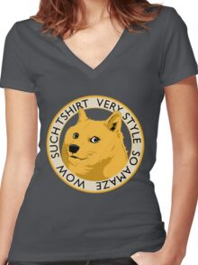 Wow such shirt! Women's Fitted V-Neck T-Shirt
