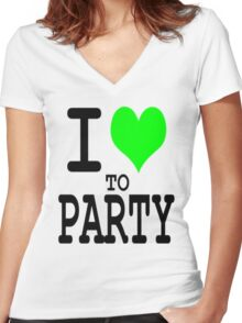 I Love To Party Women's Fitted V-Neck T-Shirt