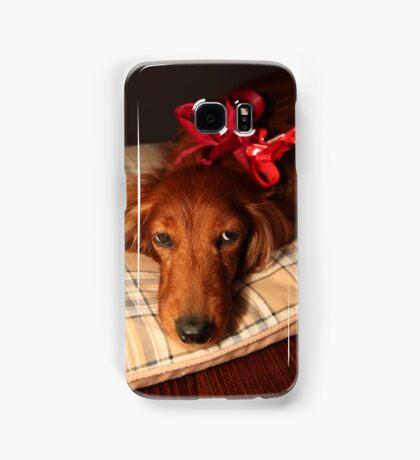 Present dog with red ribbon Samsung Galaxy Case/Skin