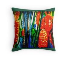 Red ginger , dk green edge Throw Pillow