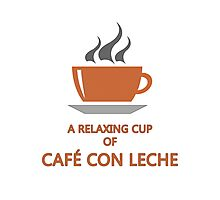 Relaxing cup of cafe con leche Photographic Print
