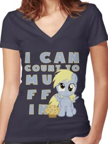 I can muffin - Derpy Women's Fitted V-Neck T-Shirt