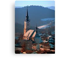 City church in winter wonderland   landscape photography Canvas Print