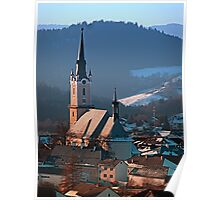 City church in winter wonderland | landscape photography Poster