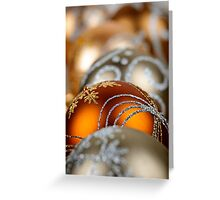 Gold Christmas ornaments closeup Greeting Card