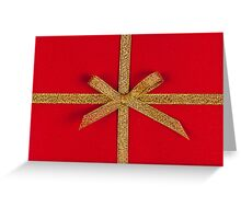 Red gift with gold ribbon Greeting Card