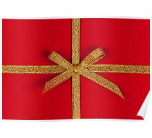 Red gift with gold ribbon Poster