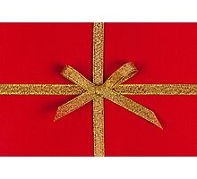 Red gift with gold ribbon Photographic Print