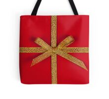 Red gift with gold ribbon Tote Bag
