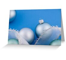 Christmas baubles on blue Greeting Card