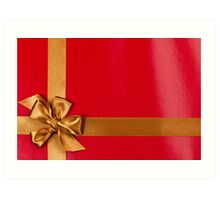 Red gift background with gold ribbon Art Print