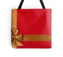 Red gift background with gold ribbon Tote Bag
