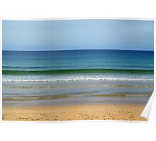 Emerald sea at Hayle, Cornwall Poster