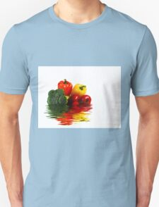 Medley of vegetables over white with water reflection Unisex T-Shirt