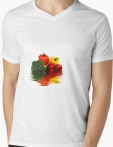 Medley of vegetables over white with water reflection Mens V-Neck T-Shirt