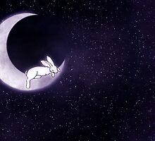 Sleeping Rabbit in the Moon by Diana *BunnyKissd* Bukowski