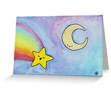 Moon and Rainbow Shooting Star Greeting Card