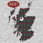 Scottish Independence Aye Map T-Shirt by simpsonvisuals