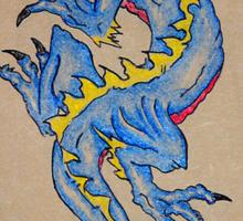 blue dragon parchment card Sticker