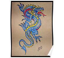 blue dragon parchment card Poster