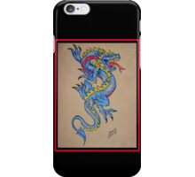 blue dragon parchment card iPhone Case/Skin