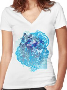 Floral_Flow Women's Fitted V-Neck T-Shirt