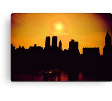 Sunset Central Park Lake Canvas Print