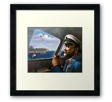 St. Simons Island Map Captain 4 Framed Print