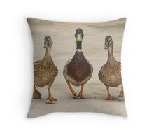 Ducks in a row Throw Pillow