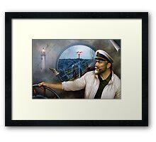 St. Simons Island Map Captain 3 Framed Print