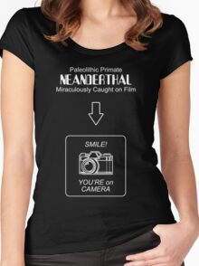 Neanderthal Caught on Film Women's Fitted Scoop T-Shirt