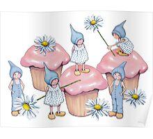 Pink Cupcakes, Gnomes, and Daisies: Fantasy Art Poster