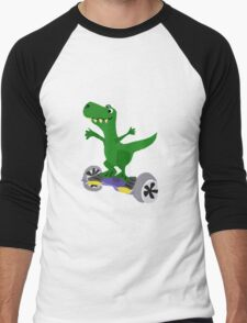 Funny Cool T-Rex Dinosaur on Motorized Skateboard Men's Baseball ¾ T-Shirt