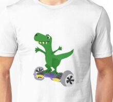 Funny Cool T-Rex Dinosaur on Motorized Skateboard Unisex T-Shirt
